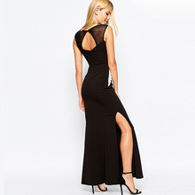 Women sleeveless one piece maxi dress/Thigh split long maxi dress