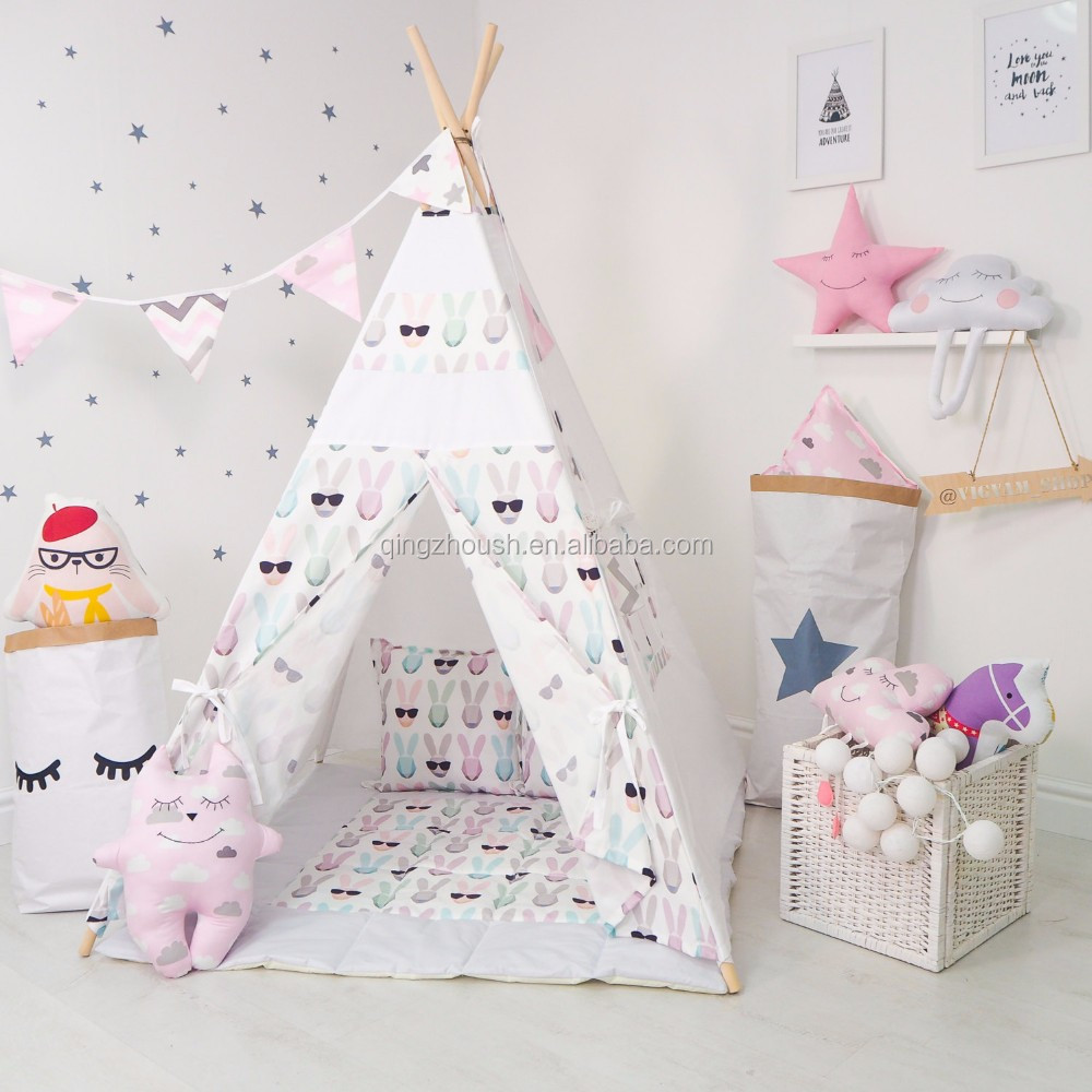 Pop up Kids Teepee Tent 100% Cotton Canvas Playhouse