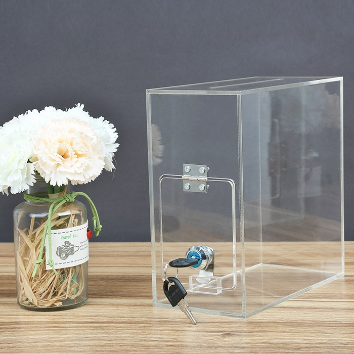 Factory wholesale clear acrylic donation box with lock and sign holder