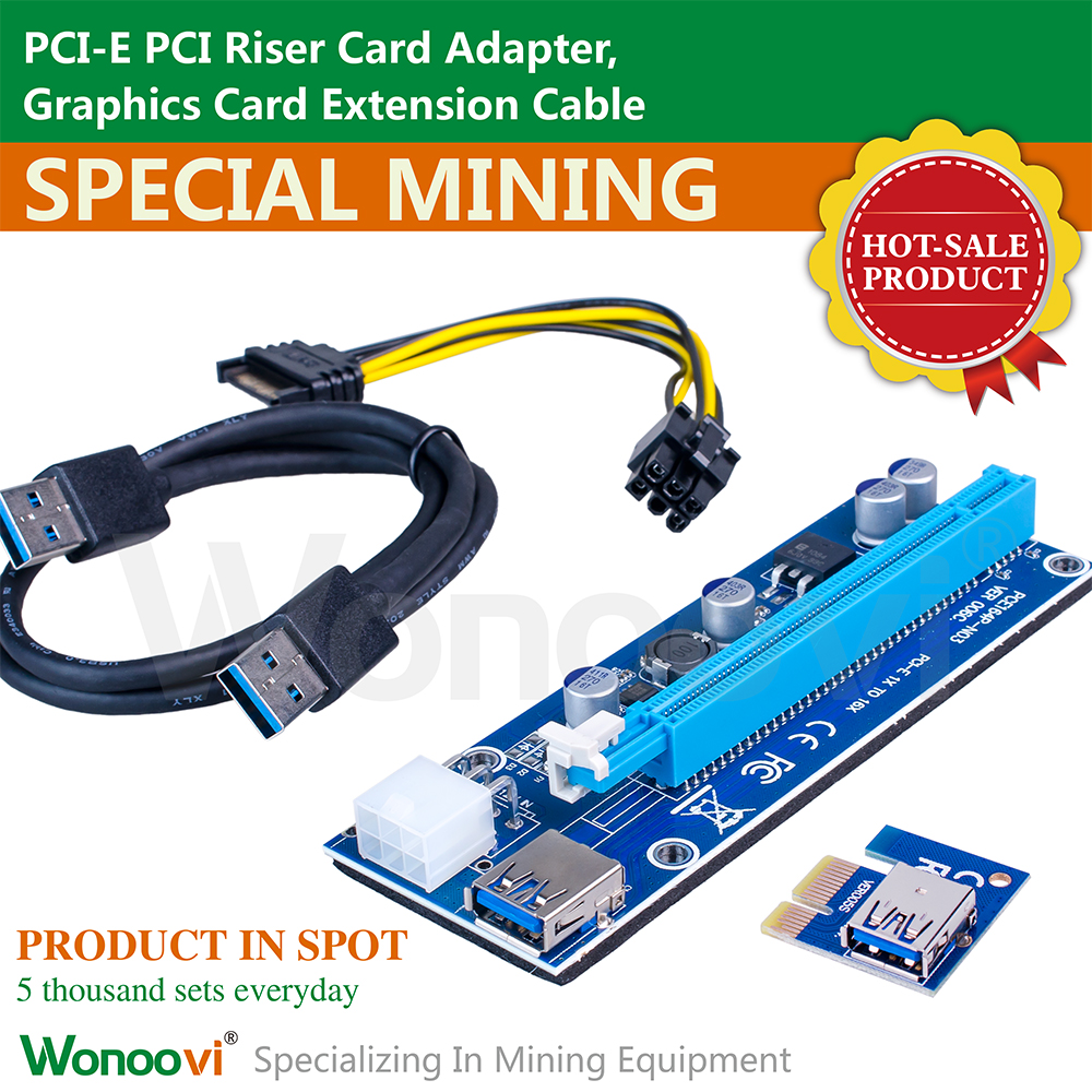 Bulk stock 30cm 6pin PCI-E PCI Express Riser 1X to 16X USB 3.0 converter card Bitcoin PCIe