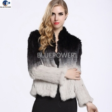 Wholesale custom real knitted ombre color rabbit fur jacket women TD1780