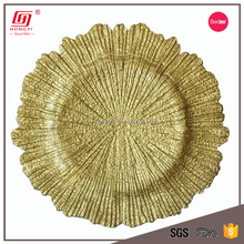 Hot sale cheap bulk glass reef gold color wedding charger plates wholesale