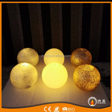 wholesale candle flickering flame silver glitter wax ball LED candles