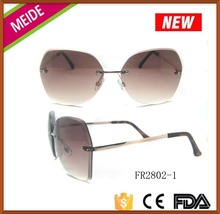 fashion style bifocal sunglasses various style metal sunglasses with unique rimless frame and demi tips