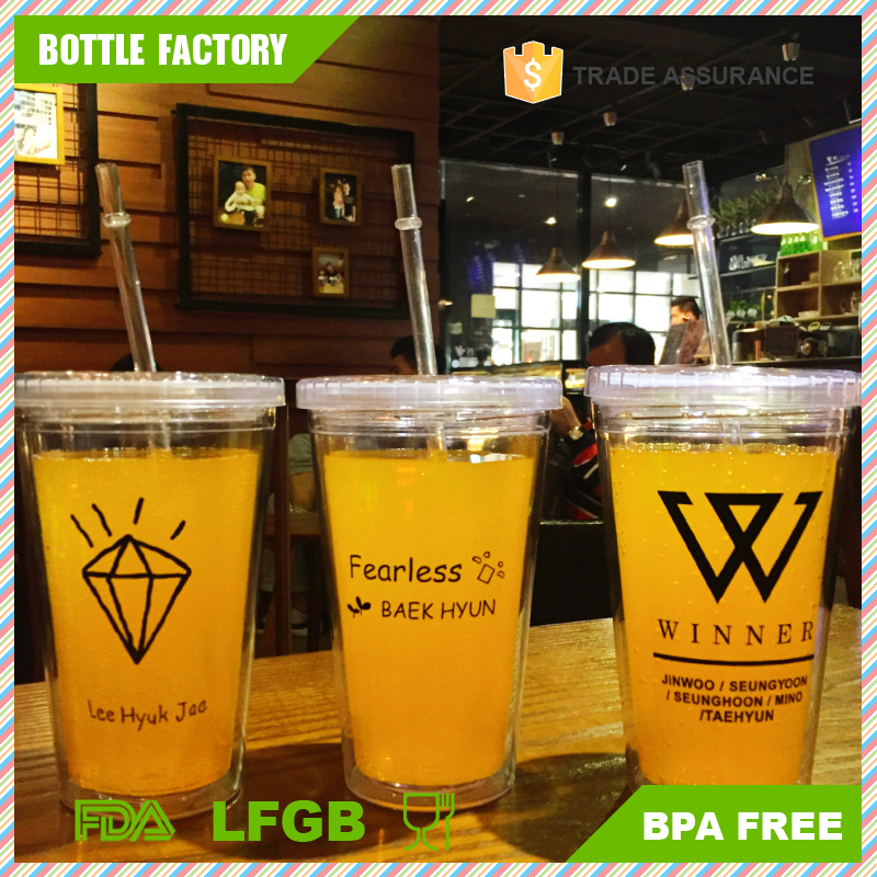 FDA Grade Clear Plastic Straw Cup With Lid