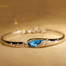New Fashion Jewellery Blue Crystal Rhinestone Solid Silver Bracelet/Bangle Lady