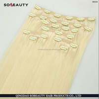 hot new products Various High Quality human hair Platinum Blonde Clip in White Hair Extensions