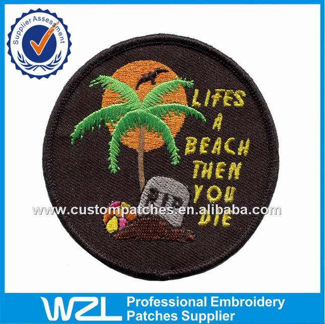 Black merrow border clothes patch, Good price 3d blank beach embroidery patches