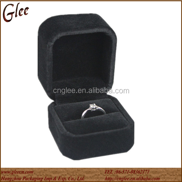 Custom leather velvet cases jewellery boxes for ring packaging