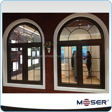 German style wooden aluminum round top arched casement window with blinds inside AS2047 CE