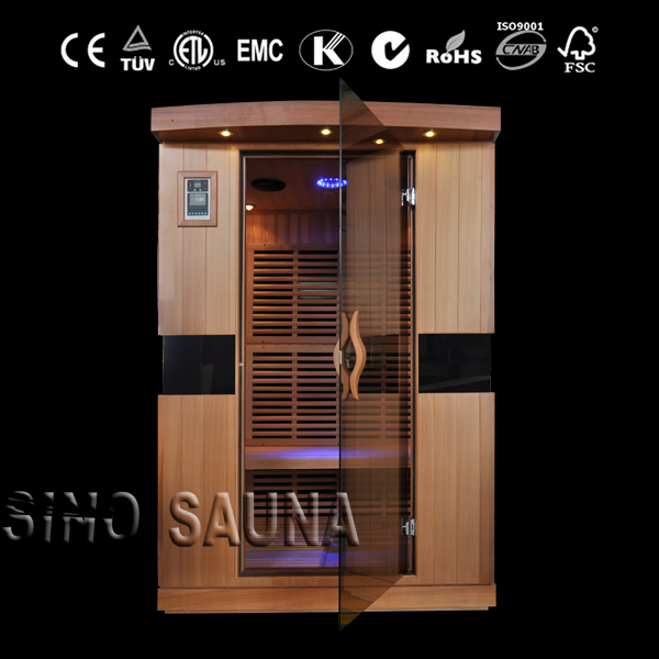 2 person dry sauna with canadian hemlock wood and fiber low EMF heater panel