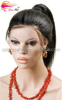 Wholesale natural black yaki human hair high ponytail full lace wigs