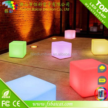 high quality PE led cube/ batter operated plastic 16 color change light up led cube chair