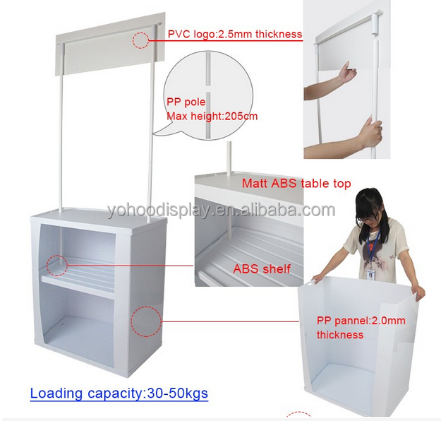 ABS and PP easy portable promotion table / promotion counter for display advertising