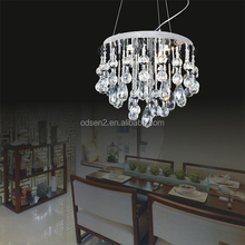 Made in China Odsen wrinkle fabric shade wiyh crystal drops decorative pendant lamp for home