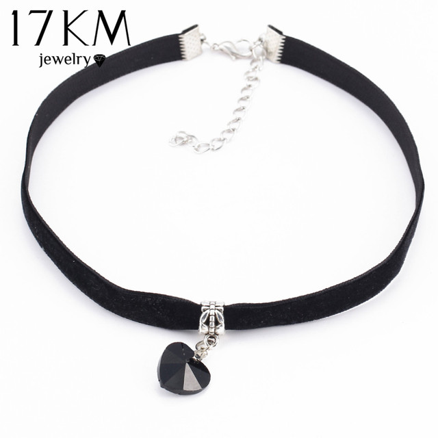 17KM 6 Colors Heart Velvet Choker Necklaces & Pendants Lace Necklaces Maxi Steampunk collares bib Bar Necklace collier boheme