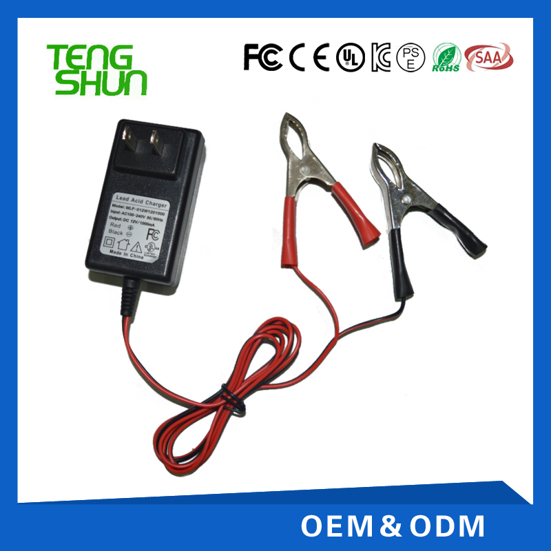 TengShun wholesale alibaba portable 12v lead acid battery charger 12v 1a charger for 7ah battery