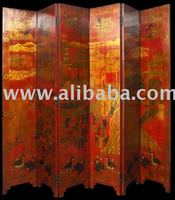 20th Century Chinese 6 Panel Folding Painted Screen