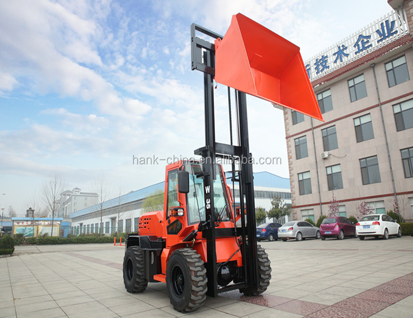 3.5 ton Rough terrain forklift/diesel forklift with quick hitch bucket/4WD FORKLIFT