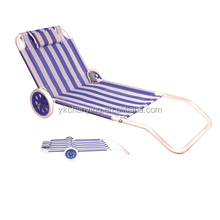 Reclining folding beach chair with wheels
