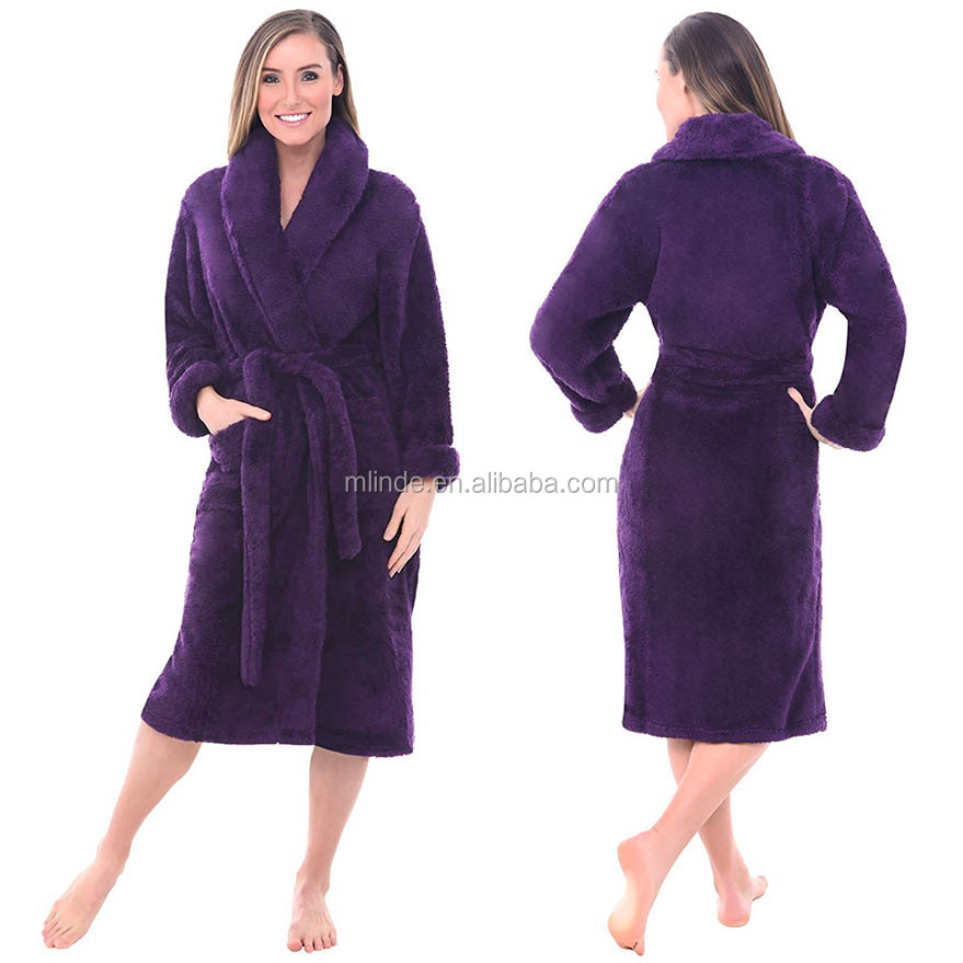 Women's Soft Premium Plush Shawl Collar Cashmere Robe Lounge Mature Women Sexy Bathrobe