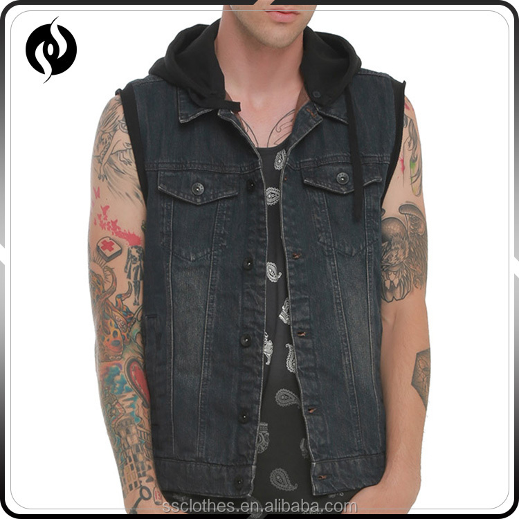Wholesale New style customize black 100% cotton hooded denim vest for man
