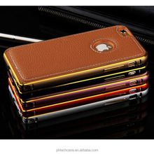 Luxury Leather Back Cover Dual Colors Aluminum Beauty Bumper Case For Iphone 6 Plus