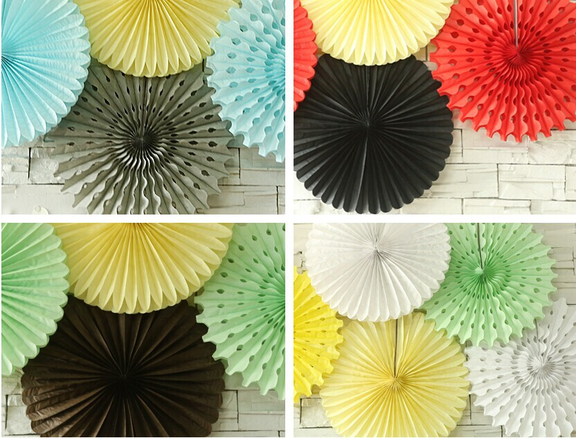 Hanging Tissue Paper Fans honeycomb balls Tissue Party Wall Fan Hanging Decorations Wedding Decoration Baby Shower