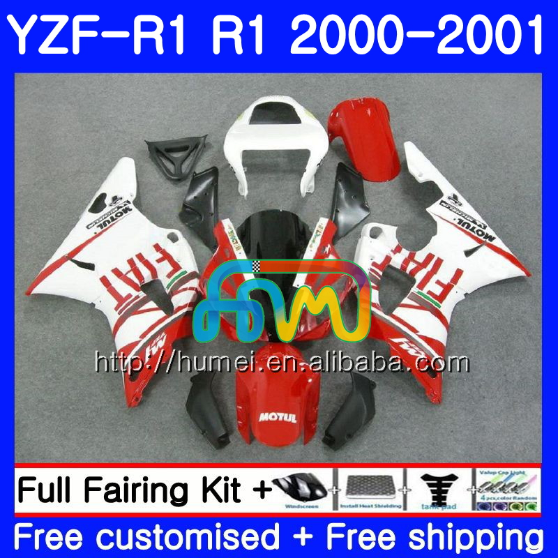 Body For YAMAHA YZF R 1 YZF white red 1000 YZF-<strong>R1</strong> 00-01 Bodywork 98HM24 YZF1000 YZF-1000 YZF <strong>R1</strong> 00 01 YZFR1 2000 <strong>2001</strong> <strong>Fairing</strong>