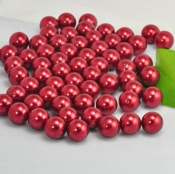 CZX110461 20mm red loose pearl glass imitation loose pearl with small hole