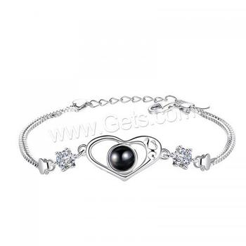 Length:Approx 7 Inc fashion women jewelry silver plated 925 sterling silver bracelet heart