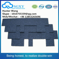 Construction materials Fiberglass Colorful asphalt roofing Shingles coloured glaze red asphalt roof shingles made in China