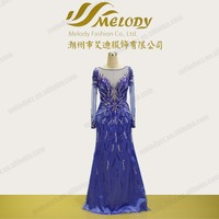 Supper long sleeve transparent chest western prom dress beaded by fashion designer