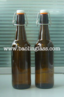 750ml swing top glass beer bottle, amber brown beer bottle