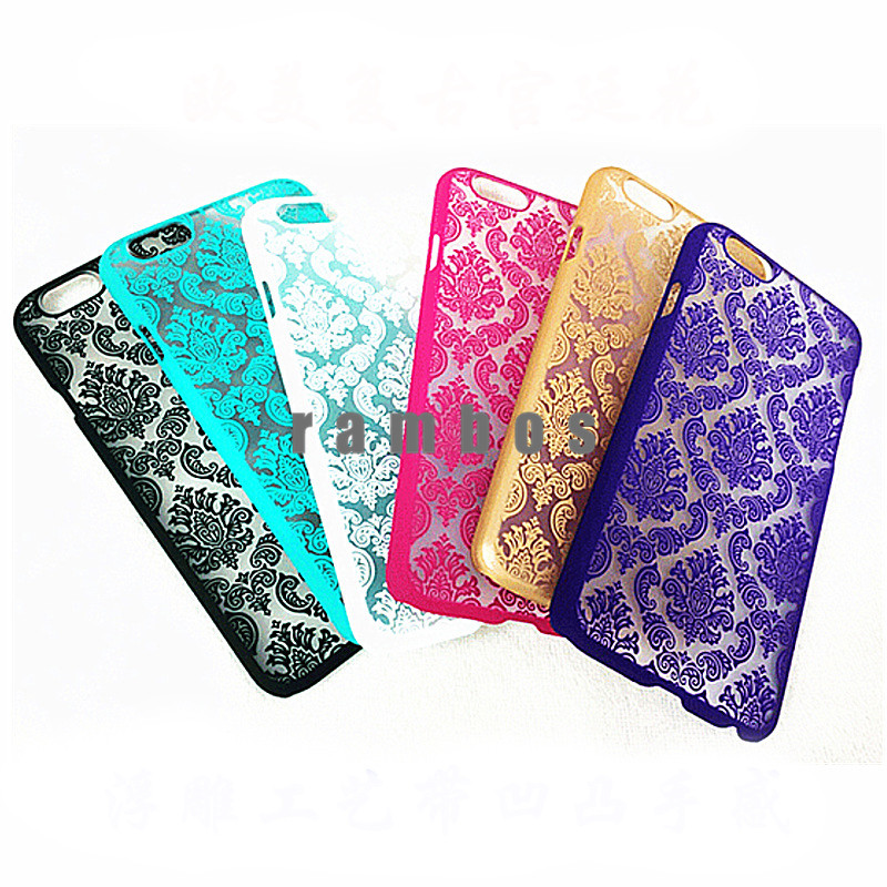 2015 New Hard Case Palace Paper Cut Flower Plastic Clear Retro Fashion Case Cover for iPhone 4 5 6 6 Plus