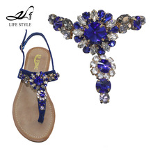 Fashion Crystal Ladies Sandals Accessories Rhinestone Shoe Connectors Upper