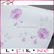 home interior decoration elegant natural purple flowers vinyl coated wallpaper