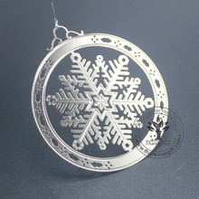 Happy Holiday silver plated snowflake etched metal Christmas ornament