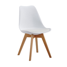Various colors plastic chairs without arms with Wooden Legs