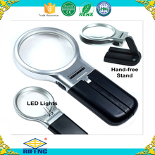 "3X Illuminated Magnifier 3"" Lighted Magnifying Glass LED with Folding Stand"