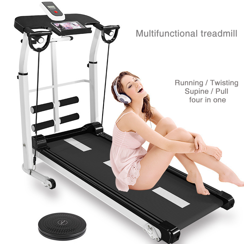 Mechanical treadmill machine home fitness multi-function silent mini foldable weight loss exercise sports fitness equipment
