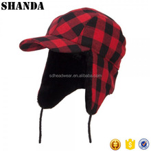 ear flap winter hats with strings and earflap red plaid woolen hat