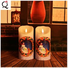 yellow flickering 3D moving wick electronic led candle/