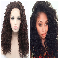 Top selling natural long curly wig dark brown wig synthetic lace front wig