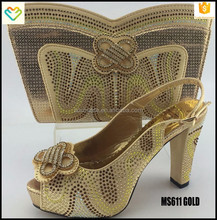 Italian matching low heel GOLD shoes and cluth bag for wedding/evening party