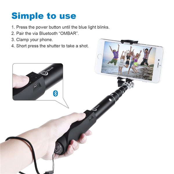 Bluetooth Wireless Selfie Stick Handheld Monopod Built-in Shutter Extendable With Fold Holder For iPhone Samsung Smartphone