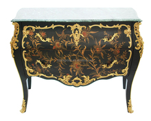 Luxury Handpainted Bombe Chest with Brass Trim, Antique Solid Brass Decorated Commode BF11-08251a