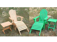 Solid wood adirondack chair with side table