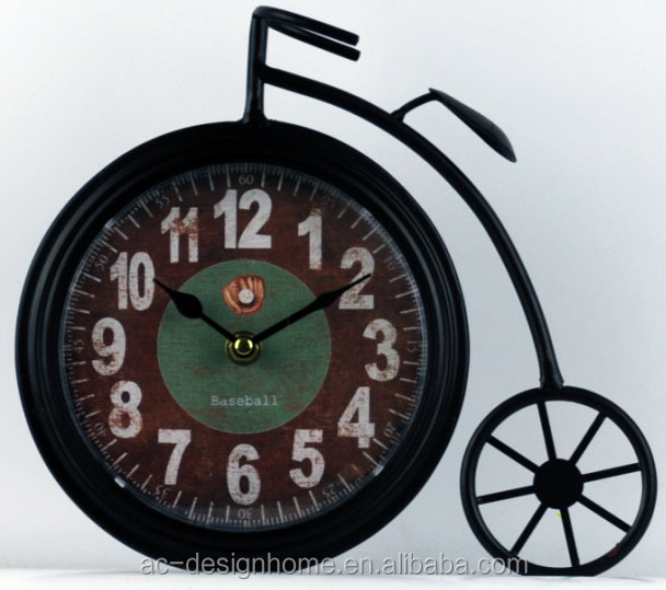 BLACK BICYCLE SHAPE TABLE TOP DECORATIVE METAL CLOCK
