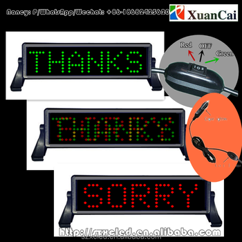 Sorry / thank you light for taxi works with battery or cigar lighter steering wheel remote cotrol LED car sign